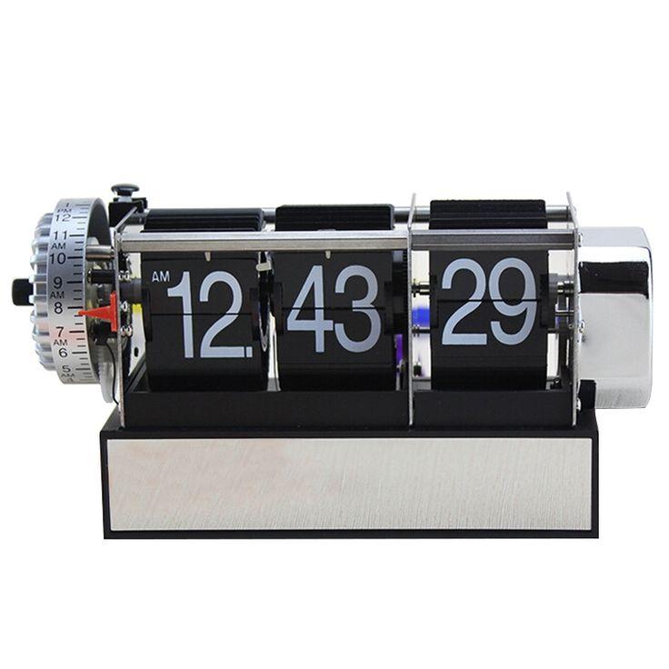 Fashion Table Auto Flip Gear Scale Design Metal Digital Alarm Clock Xmas Gifts Black