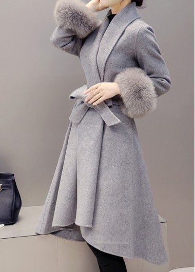 Grey Belted Asymmetric Hem Faux Fur Cuff Coat on sale only US$47.23 now, buy cheap Grey Belted Asymmetric Hem Faux Fur Cuff Coat at liligal.com