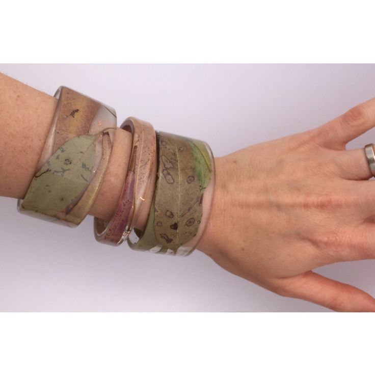 Fresh in store and back by popular demand. Australian gum leaf eco-resin bangles.