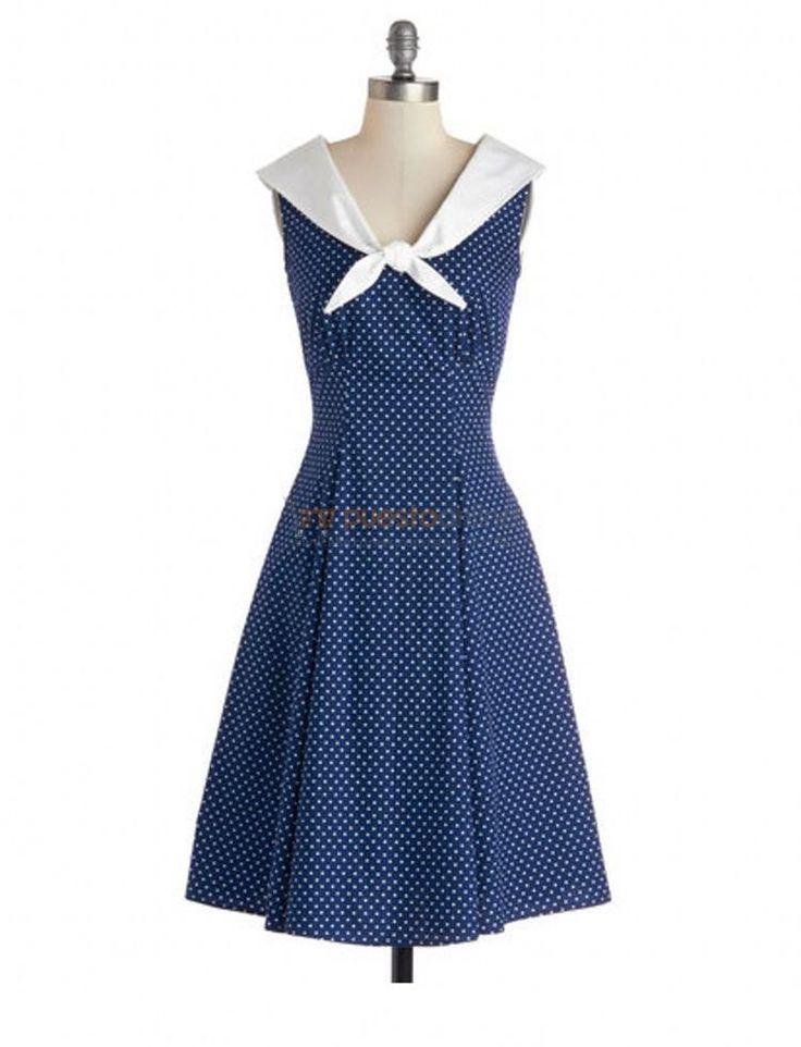 Das mulheres do Vintage 60 s de bolinhas sem mangas na altura do joelho colarinho branco azul marinho vestido de verão estilo Retro Sailor Pin Up Rockabilly vestido em Vestidos de Das mulheres Roupas & Acessórios no AliExpress.com   Alibaba Group