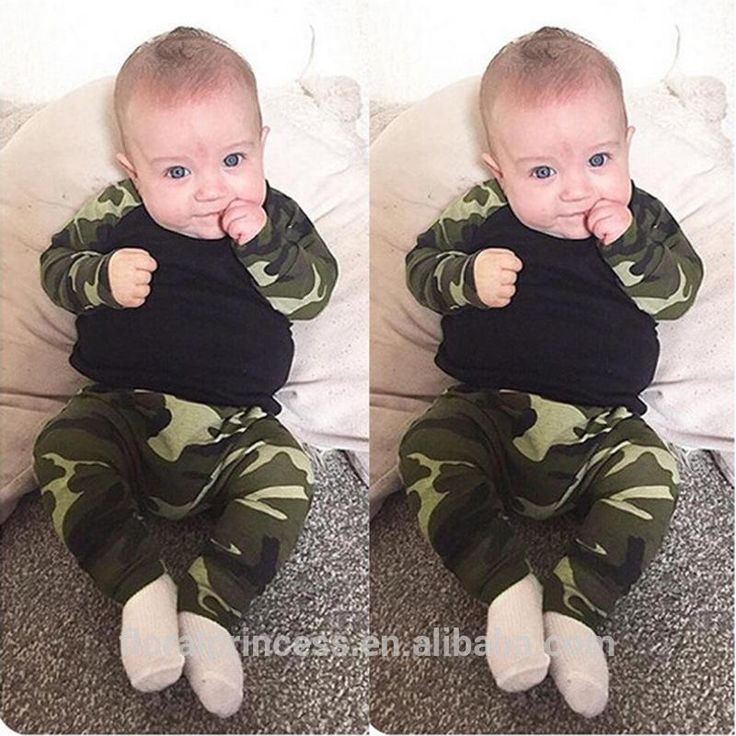Wholesale Boys Baby Clothing Sets Cotton Camouflage Long Sleeve tshirts Harem Pants Outfits Newborn Pajamas Jumpers Toddler