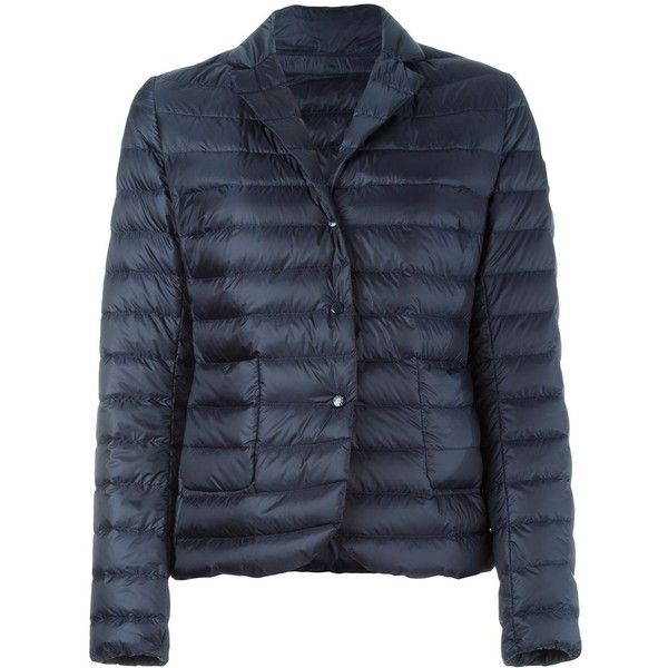 Moncler 'Leyla' Padded Jacket (41.250 RUB) ❤ liked on Polyvore featuring outerwear, jackets, straight jacket, snap jacket, navy quilted jackets, blue jackets and quilted jacket