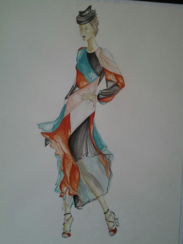 Gouache, Modell von Blumarine. Conny Feller