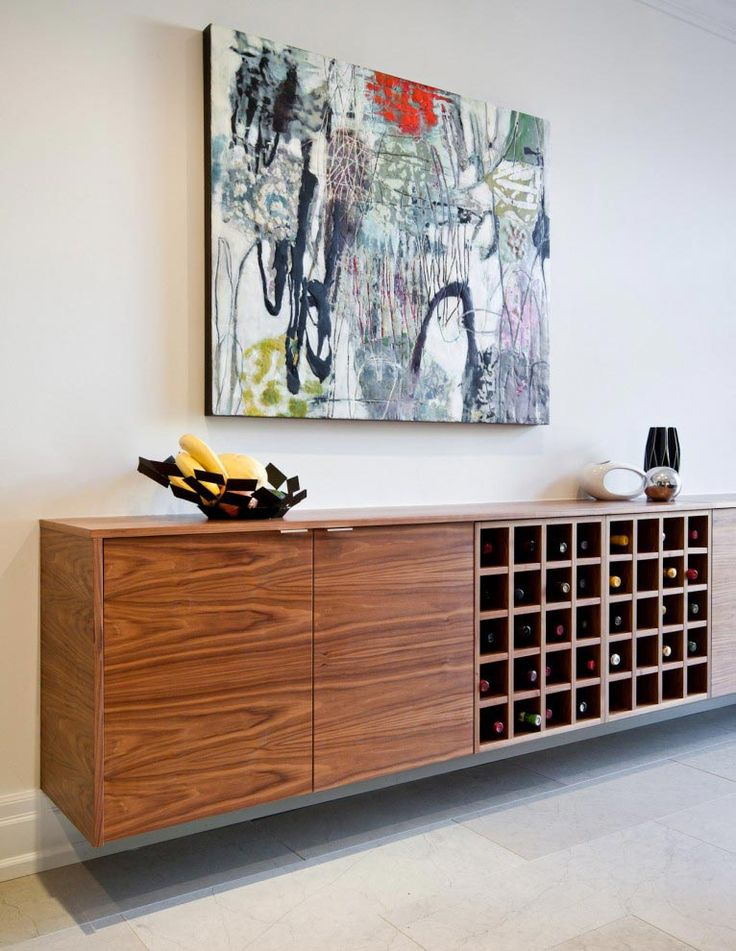 Floating Console With Wine Fridge And Storage