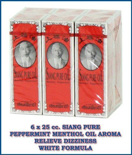 6 X 25 Cc. Siang Pure Peppermint Menthol Oil Aroma Relieve Dizziness White Formu Amazing of Thailand by Siang Pure. $49.97. Brand : SIANG PURE Product Size : 6 x 25 cc. Condition : Brand new & Never used with a seal pack     Siang Pure Oil peppermint white    Decription :          Siang Pure Oil is combination of herbal ingredient that truly work to relieve many bodily discomforts, aches and pains. Effective in relieving dizziness, stuffy nose, insect bites, itch...