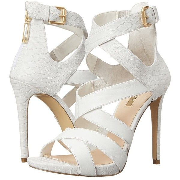 GUESS Abby High Heels ($120) ❤ liked on Polyvore featuring shoes, sandals, heels, platform heel sandals, back zip sandals, heeled sandals, open toe platform sandals and high heel platform sandals