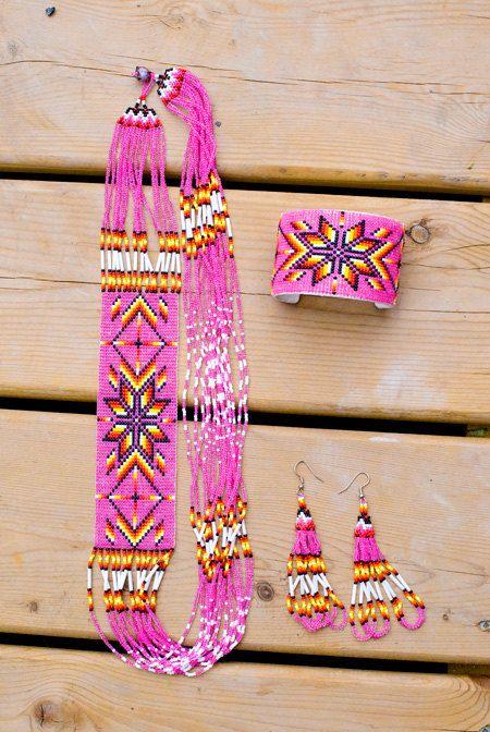 Beautifully Beaded Pink Jewelry Set by SparkleandBead on Etsy, $80.00