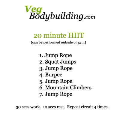 HIIT Exercises No equipment (except jump rope [optional]) needed for this 20