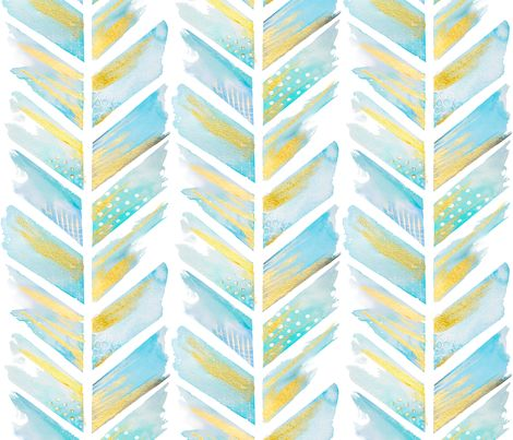 Watercolor Feather Chevron LARGE fabric by emilysanford on Spoonflower - custom fabric