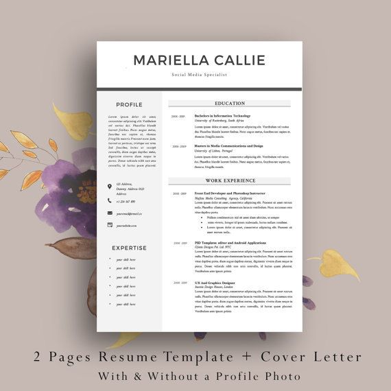 2 Page Resume Template. Cv Template +  Cover Letter. Easy and Fun to Edit in MS Word. Simple and Elegant CV Template by AvataDesigns