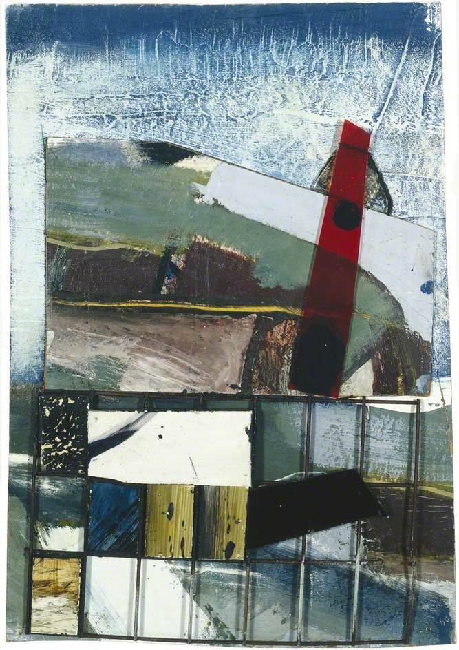 Built up Coast (1960) Peter Lanyon. You can see the coast line in his paintings but also the other smaller buildings in the foreground - the level of abstraction reflects the physical experience of being amongst the elements whilst painting. It also shows how his paintings lead the artist to think about assemblages after starting to glide, taking further risks with his work which pay off and result in a journey taken across his home landscape.