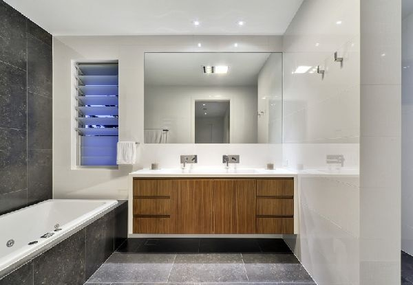 timber-look vanity units to break up grey and white....? #bathroom