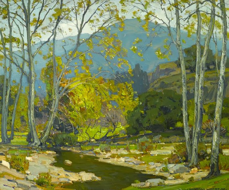 William Wendt (American, 1865-1946) Quiet Brook (1923) oil on canvas 30 X 36 in.