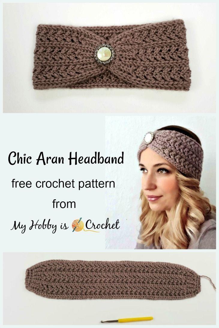 bd743c07c3e Crochet Patterns Chic Aran Headband   Earwarmer – Free Crochet Pattern on  myhobbyiscrochet.com  bordado  crochet  Crochetpatterns  Knitting