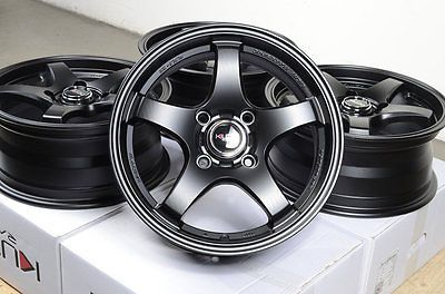 "15"" Matt Black Kudo Wheels Rims 4 Lugs Honda Civic Accord Prelude Insight Cobalt"
