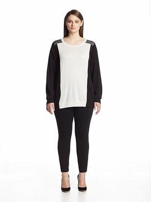 51% OFF Calvin Klein Plus Women's Colorblock Pullover (Winter White)