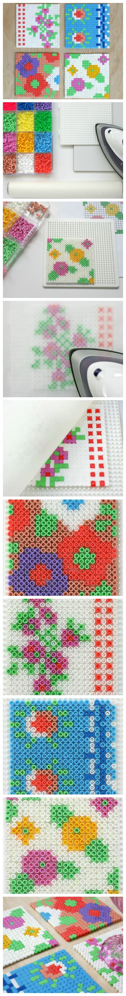Tutorial: Make a set of vintage floral Hama (Perler) bead coasters