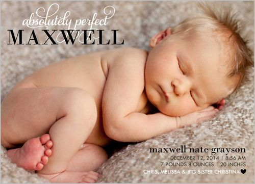 Get the sweetest shot of your bundle of joy when he is asleep. Share your happy news with a photo birth announcement. Tip: make sure to sneak a peek of those cute little baby toes!