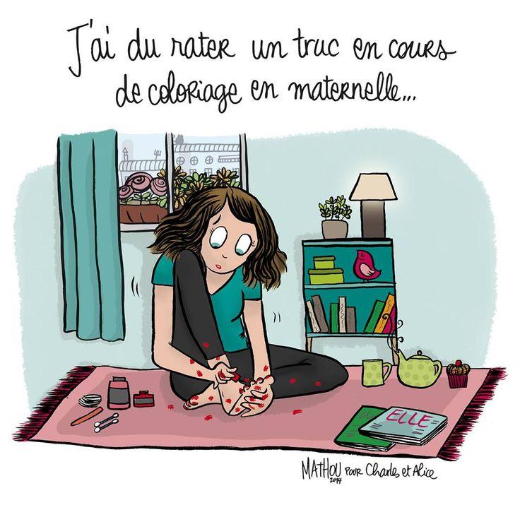 """Illustration par Crayon d'Humeur pour Charles & Alice : """"Objectif 2014: devenir une reine du #NailArt. Ou pas…"""""""