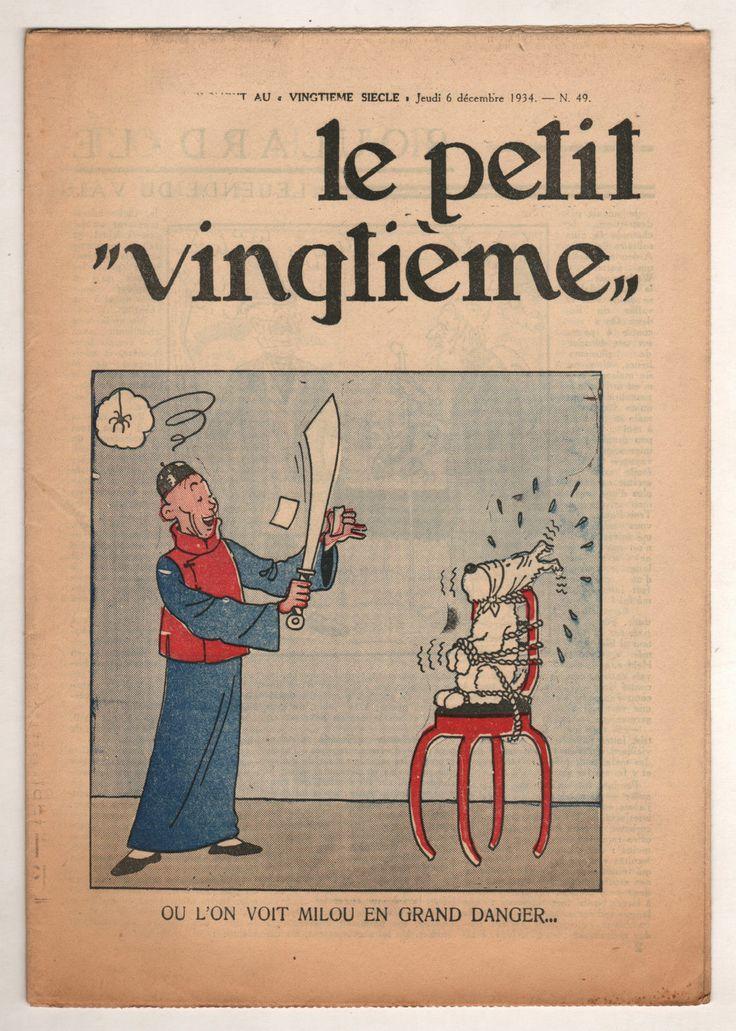 """Tintin LE Lotus Bleu LE Petit """"Vingtieme"""" N°49 1934 LE FOU ET Milou"""