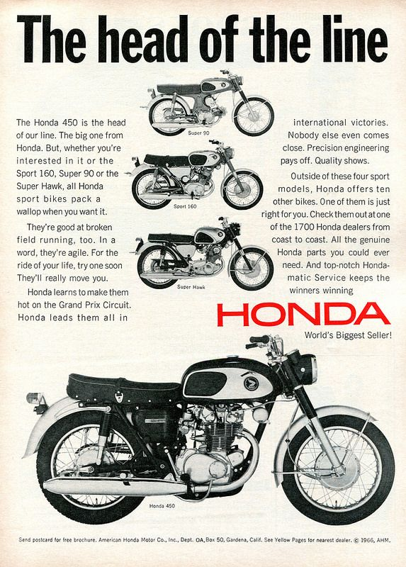 vintage honda motorcycle ads. honda motorcycles 450 head of the line vintage motorcycle ads c