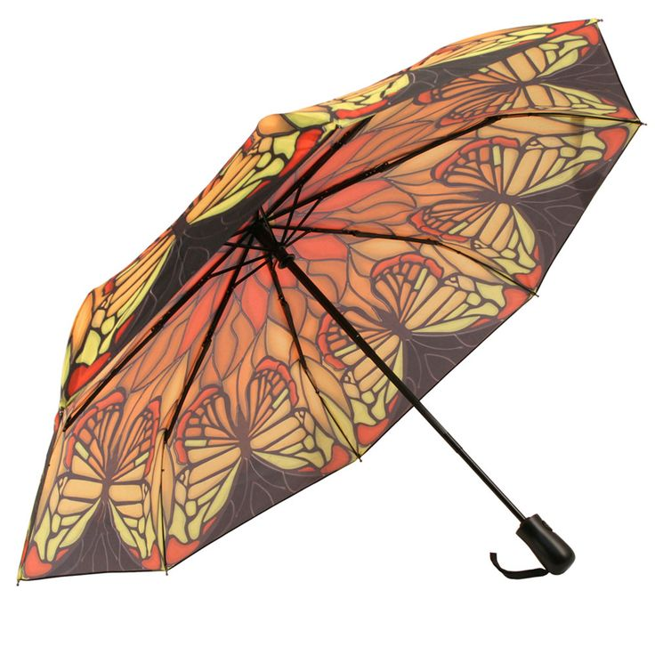 Clifton's Galleria Stain Glass Butterfly Folding Rain umbrella unique print with Automatic open. Also available in Full Length Walking size.