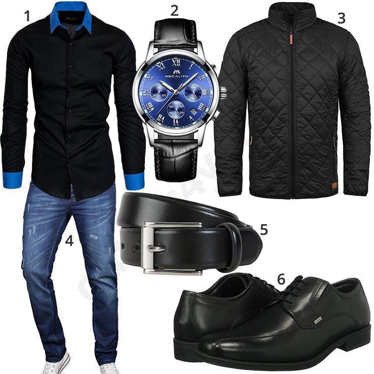 Schwarzes Herrenoutfit mit Hemd, Chronograph und Steppjacke (m0907)