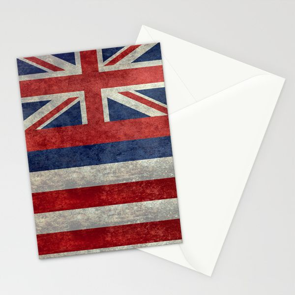 The State flag of Hawaii - Vintage version Stationery Cards by BruceStanfieldArtist North America   Society6  #Hawaii #flag #Hawaiianflag #vintage #retro
