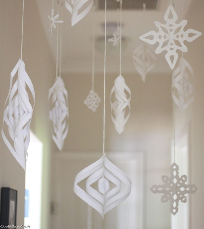 "There's no white Christmas here in Australia (and Christmas is forecast to be a scorcher in Perth this year). Instead, as I showed yesterday, I created a Winter Wonderland inside for my kids. I crocheted a chain stitch ""ladder"" to hang the snowflakes from so I would have lots of loops to attach my decorations …"