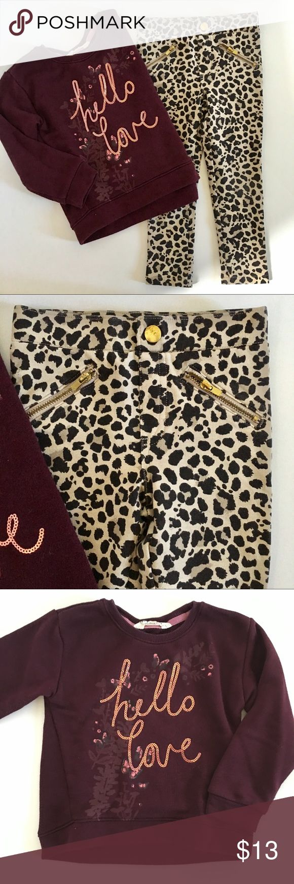 H&M Leopard Treggings & Sweatshirt Moto style leopard treggings with faux zipper pocket detail, pull on style. 3/4Y Super cute burgundy sweatshirt with slight graduated hem (slightly longer in back) Floral pattern and sequin graphic. 3/4Y Great condition. H&M Matching Sets