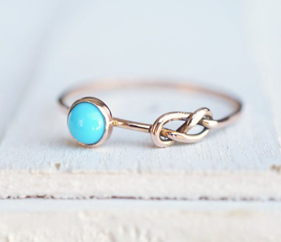 Turquoise Ring Infinity Ring Eternity Ring Rose Gold by Luxuring