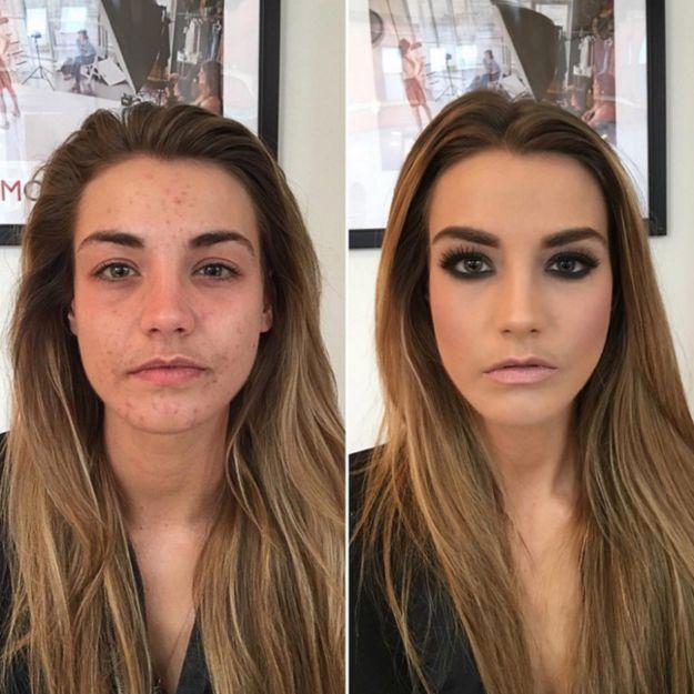 Una sombra oscura con cejas marcadas puede darle mucho más poder a tu mirada. | 21 Fotos antes/después que prueban el poder del maquillaje