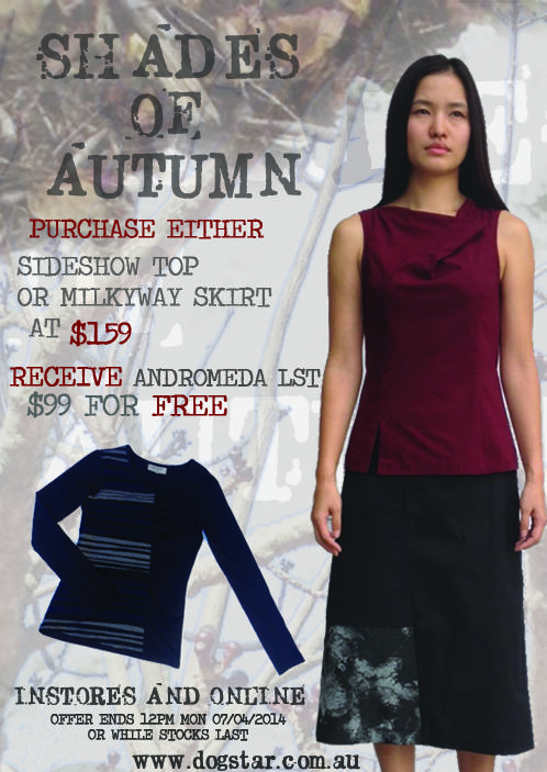 Shades of Autumn - Sideshow top, milkyway skirt, Andromeda long sleeve top.