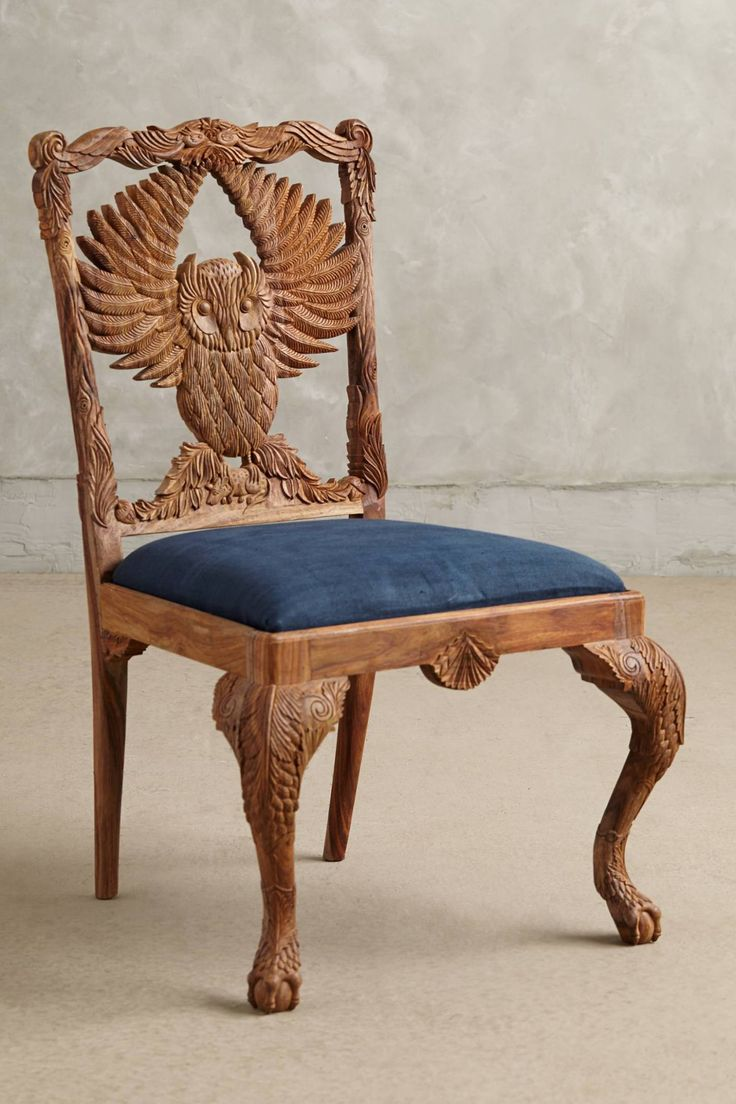 Handcarved Owl Menagerie Dining Chair #anthrofave