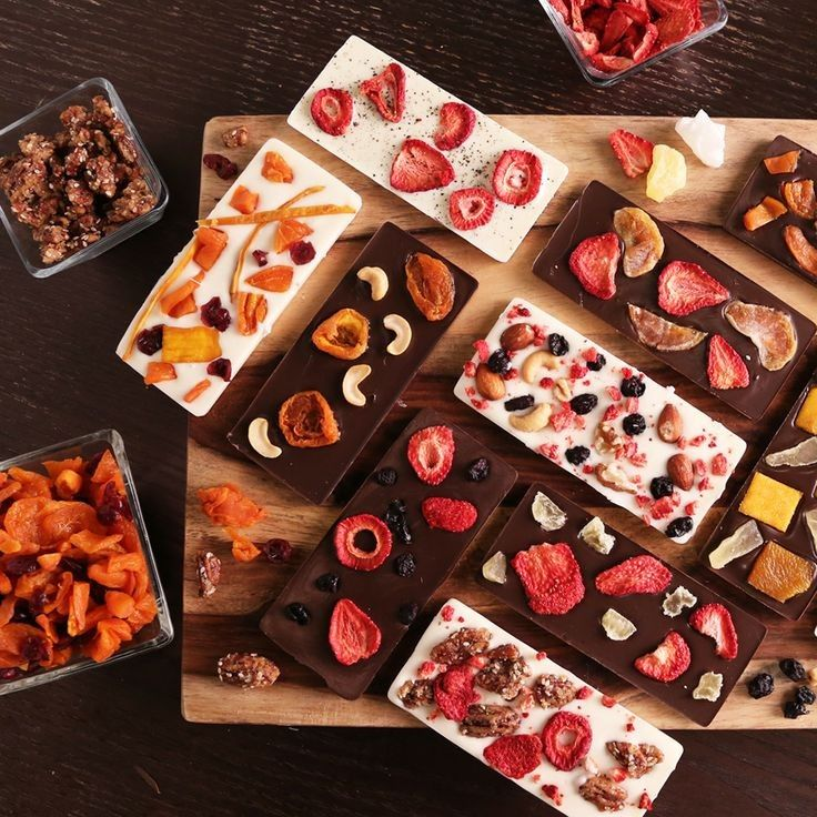 Chocolate Bars with nuts and fruits - gathering table display
