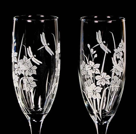 Personalized Wedding Champagne Flutes Dragonfly & by bradgoodell, $58.00