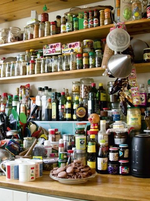 Spices laden shelves within easy visible reach! A lot of them.