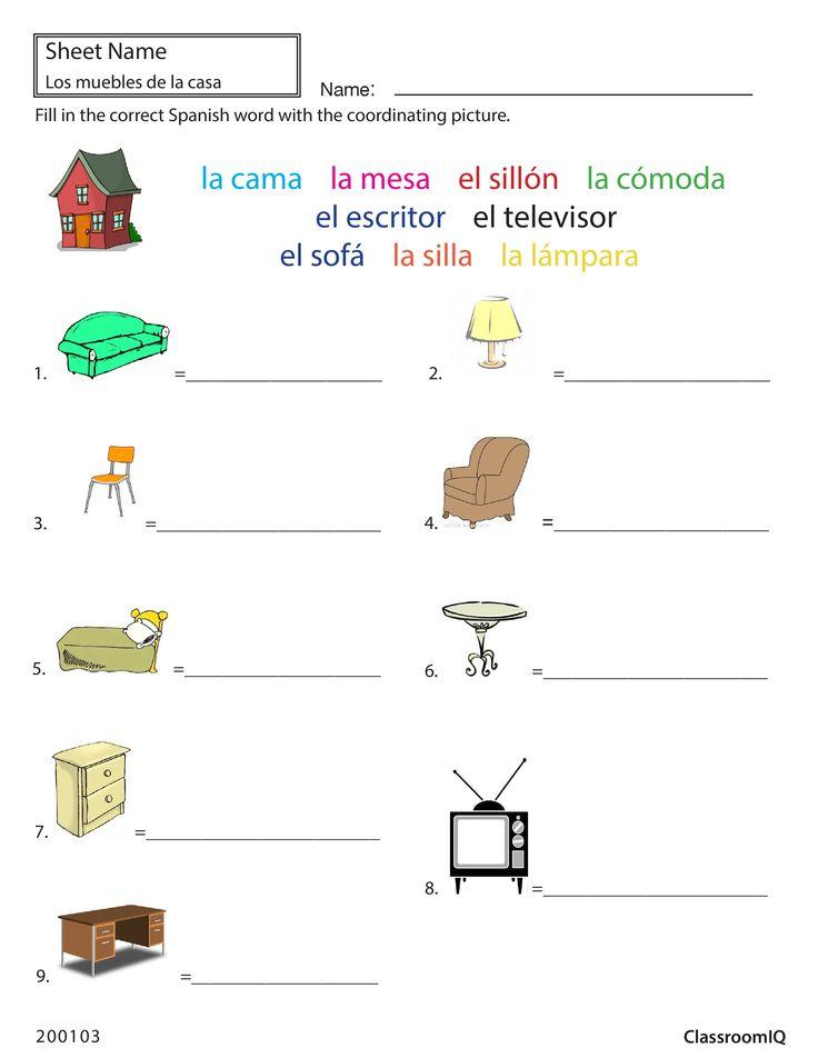 8 best spanish worksheets level 2 images on pinterest spanish class spanish classroom and. Black Bedroom Furniture Sets. Home Design Ideas