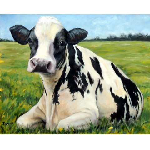 Holstein Cow Farm Animal Art Print of Original Painting by Dottie Dracos, dairy cow, black and white cow, farm art, cow art – Tiere | Animals