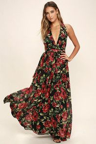 The Sweet Heaven Black Floral Print Maxi Dress was sent from above just for you! Lightweight chiffon with a stunning allover black, red, and green rose print shapes a plunging halter bodice with an elasticized open back, and covered button closure. Banded waist flows into a full maxi skirt. Hidden back zipper/clasp.
