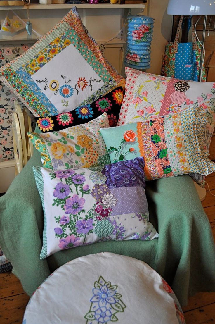 Pretty vintage fabric cushions