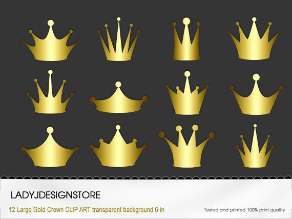 Crown Clip Art - 12 Digital Clipart Golden Crowns for invitations, scrapbooking- PNG