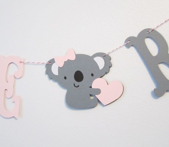 Welcome Baby - Pink and Gray Baby Koala Banner - Baby Shower Decoration or Photo Prop on Etsy, $10.00