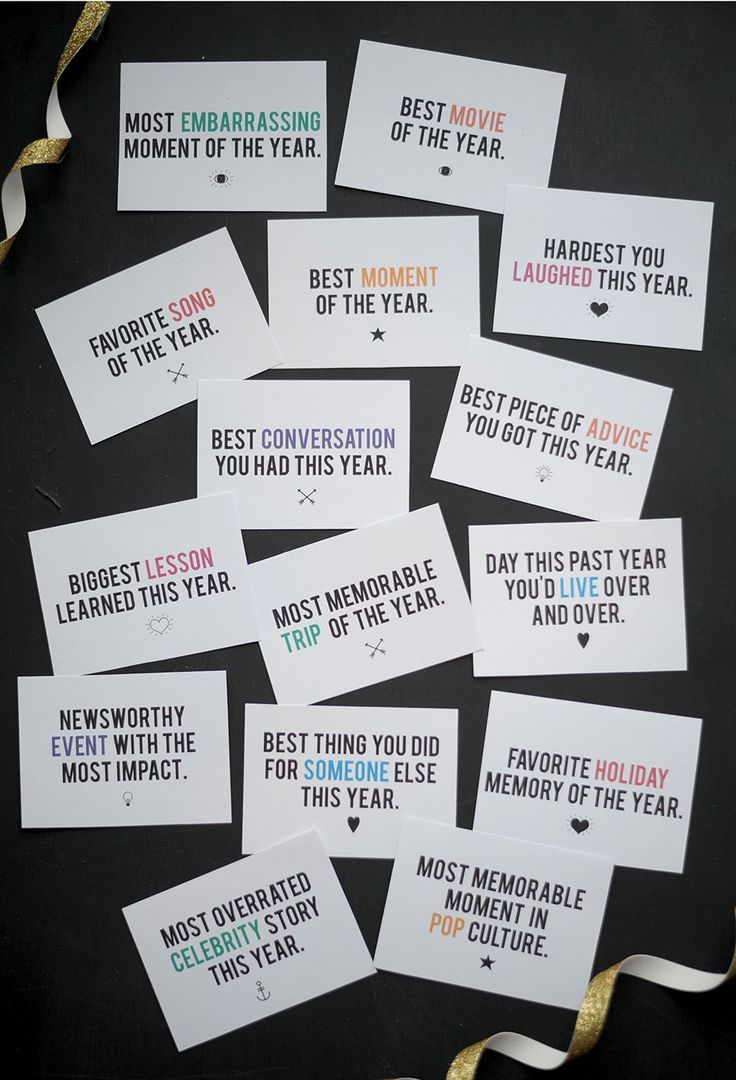 "New Year's game free printable on aliceandlois.com  -Include cards like ""On your phone, pull up the 7th instagram pic from this year and show everyone, or, pick the 11th facebook post, or tumblr""...etc"
