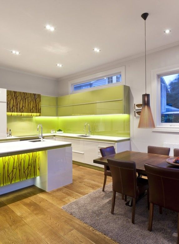Kitchen Lime Green Kitchen Backsplash And Wooden Floor Design Contemporary Kitchen Design With Faux Bamboo Dining Table Ideas Clever Ways About Kitchen Remodel Ideas You Must See