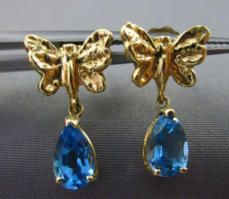 ESTATE .20CT BLUE TOPAZ 14KT YELLOW GOLD 3D BUTTERFLY HANGING EARRINGS #25197