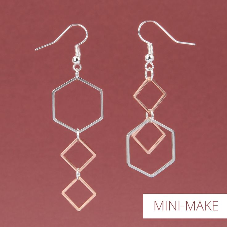 *MINI-MAKE BLOG FEATURE* Create a delicate pair of trending geometric earrings with soldered square and hexagon shapes! These can be made to wear as a matching pair, or asymmetrically for an edgy look!