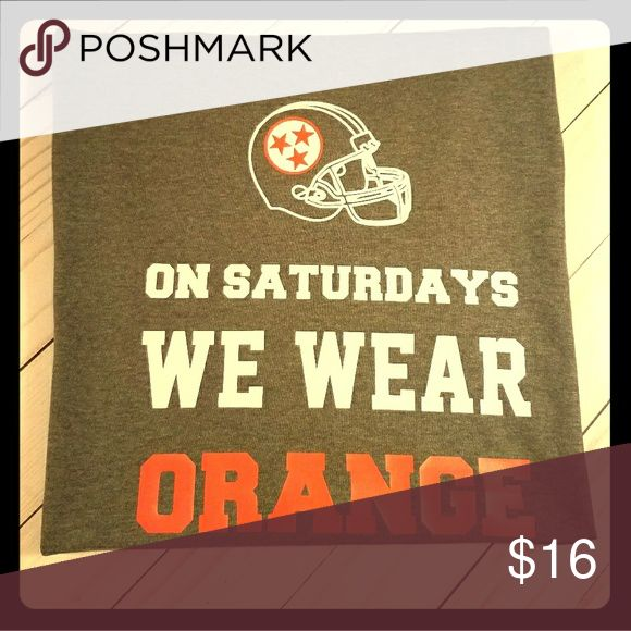 New University of Tennessee Game Day Tee Size L Hand Designed Tee. University of Tennessee Game Day t-shirt. On Saturdays We Wear Orange with Helmet and Tri Star insignia. Gray Tshirt. Size Large. Gildan Tops Tees - Short Sleeve