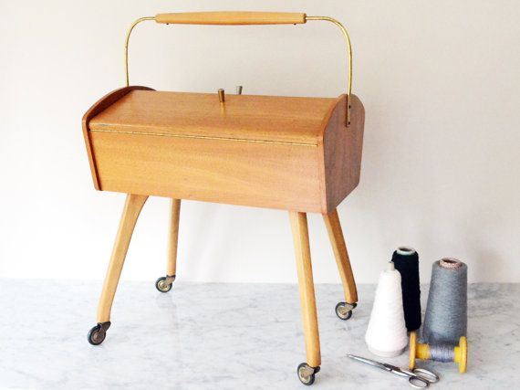 Vintage sewing box with wheels 60s, midcentury basket for sewing items, wooden storage case