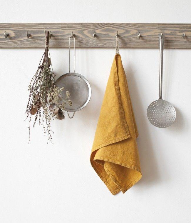 Mustard Washed Linen Tea Towel